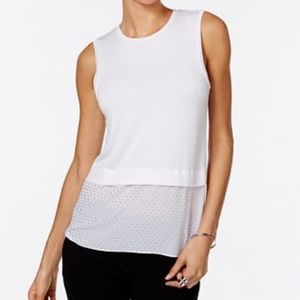 Michael Kors Embellished Layered-Look Top White